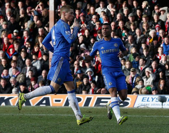 Chelsea's Torres celebrates his goal against Brentford with team mate Cole during their FA Cup fourth round soccer match at Griffin Park in London